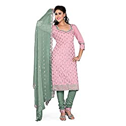 S.V.G. Suit Material With Sequined Work - (Pink)