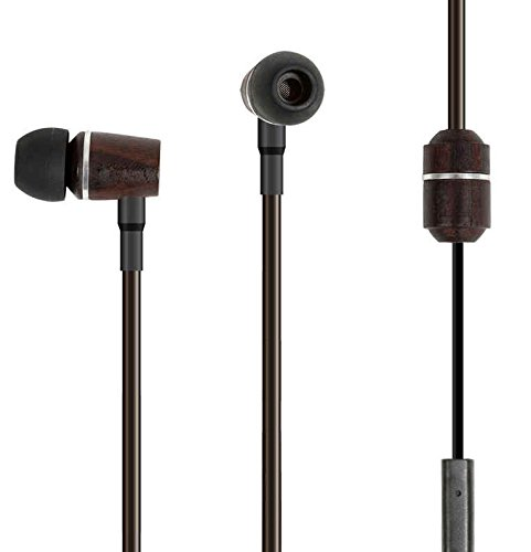 Aircom A5 Wood Stereo Earbud With Clic-It Tips - Retail Packaging