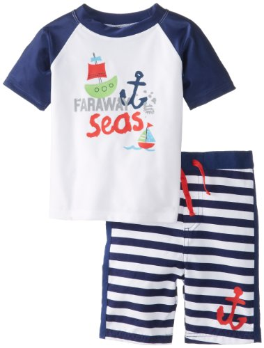 Absorba Baby-Boys Infant Sail Boat Swim Set, Navy Stripe, 12 Months front-785502