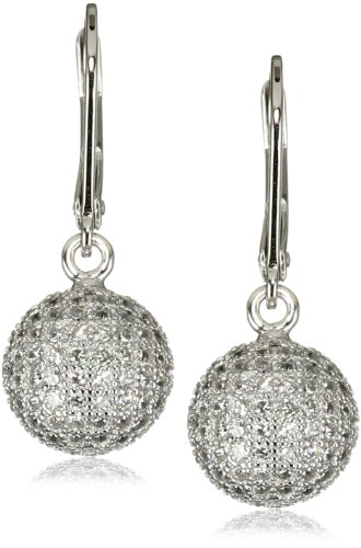 ELLE Jewelry Sterling Silver Micro Pave Cubic Zirconia Lever Back Drop Earrings