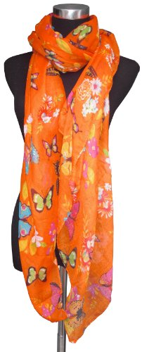 Large Orange, Butterfly and Flower Print Chiffon Scarf or Sarong