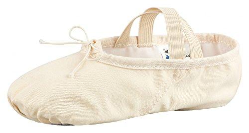 tanzmuster Ballettschuhe / Ballettschläppchen aus Leinen, geteilte Sohle, für Kinder und Erwachsene sandfarben in den Größen 22-45.