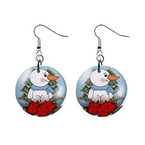 """Snowman Snowglobe 1"""" Round Button Dangle Earrings Jewelry 29986952 snowman-snowglobe"""