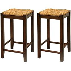 Bar Stool, 24-Inch Rush Seat Walnut Finish S/2, Set Of Two