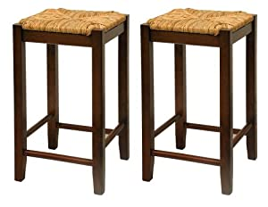 Bar Stool, 24-Inch Rush Seat Walnut Finish S 2, Set Of Two by Winsome