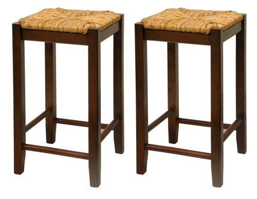 Bar Stool, 24-Inch Rush Seat Walnut Finish S/2
