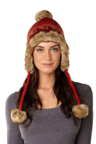 Y.A.K Apparel faux-fur lined earflap hat with pompom accents-red-one size