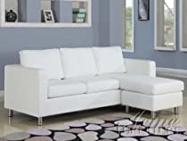 Big Sale ACME 15068 Kemen Reversible Chaise Sectional with White Bycast PU