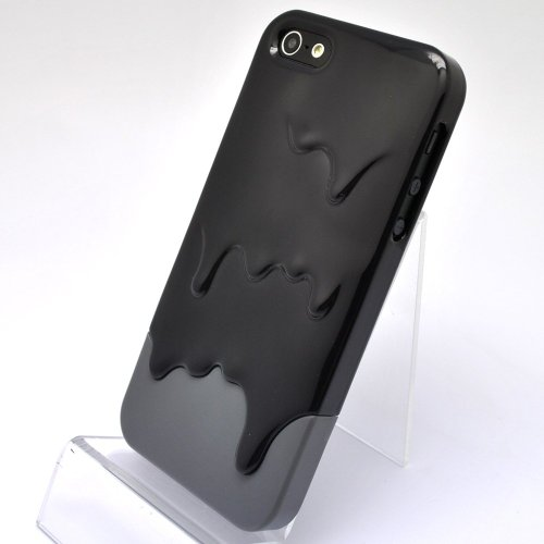 Ice Cream Black + Gray Hard Case for iPhone 5 + Free Screen Protector