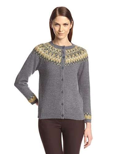 Anna Sui Women's Sparkle Fairisle Wool Cardigan with Contrast