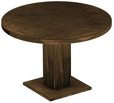 Brasil Mobili Tavolo da pranzo Rio uno, in legno di pino massiccio, cerato e oliato Eiche antik Cognac, rotondo, 120cm/78cm di altezza