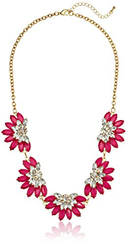 "Resin And Crystal Flower Magenta Statement Necklace, 21.5"" + 3"" Extender"