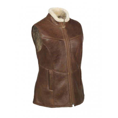 Nordvek Ladies Quality Genuine Sheepskin / Lambskin Aviator Style Body Warmer / Gilet Jacket # 701-100 - Antique Brown