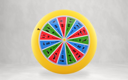 Spin-Fit Sports Disc with Exercises. Plastic flying disc (80g - 9 inch diameter), with instructions. Made in USA.