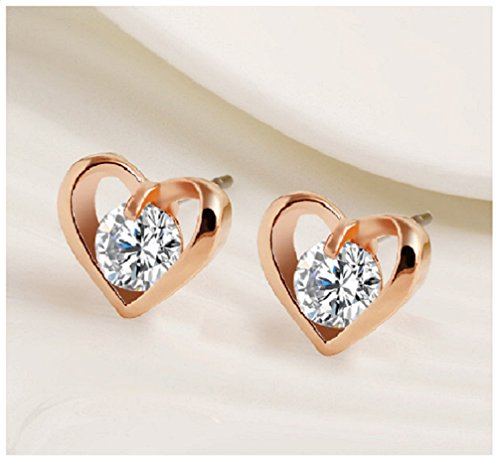 Hanxue Women's Personalized Jewelry Zircon Stud Earrings Heart Gold (Heart Gold Ring compare prices)