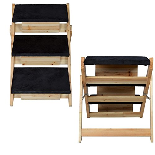 1 Set Extraordinary Modern 2in1 Pet Stairs Ramp Lightweight Portable Carpeted Cat Steps Ladder Color Black and Wood