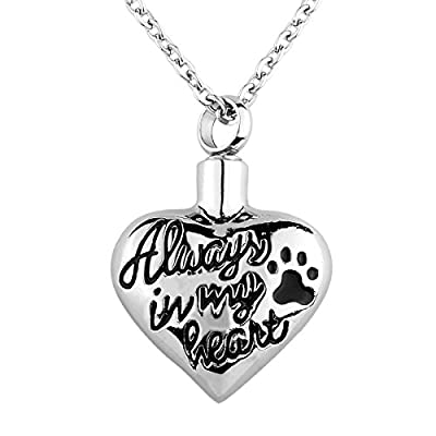 "VALYRIA Memorial Jewelry ""Always in my heart"" Pet Paw Pendant Urn Keepsake Ashes Necklace with Personalized Engraving"