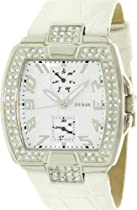 Guess Quartz Ladies Watch White Leather Multi Function Analog Date W11103L2