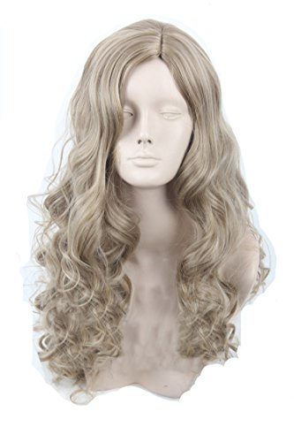 Shining Women Medium Curly Cosplay Party Wig Japanese Anime Wig Cinderella Wig