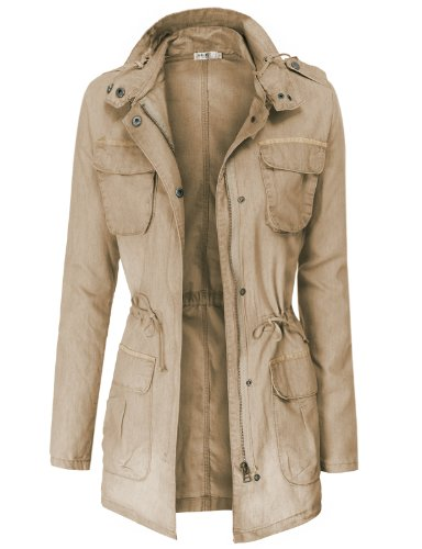 Doublju Lightweight Casual Safari Jackets BEIGE (US-L)