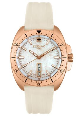 Zodiac ZO5524 Ladies / Unisex Swiss Speed Dragon Watch Analogue Rose Gold Tone Stainless Steel and White Rubber Strap