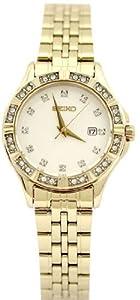 Seiko Champagne Dial Gold-tone Stainless Steel Ladies Watch SXDF22