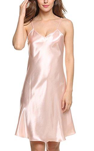 Avidlove Women's Nightshirts Satin Chemises Slip Sleepwear Pink Large