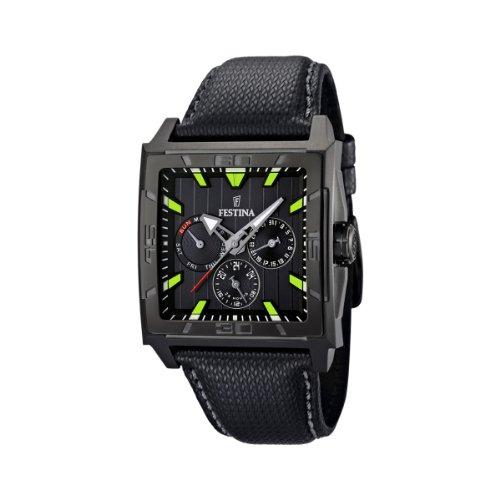 Festina F16569/3 - Reloj analógico de caballero de cuarzo con correa de piel negra