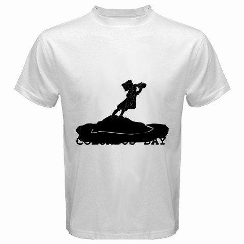 Men'S Customized Standing Island Sea Handheld Telescope Looking 100% Cotton White T-Shirt