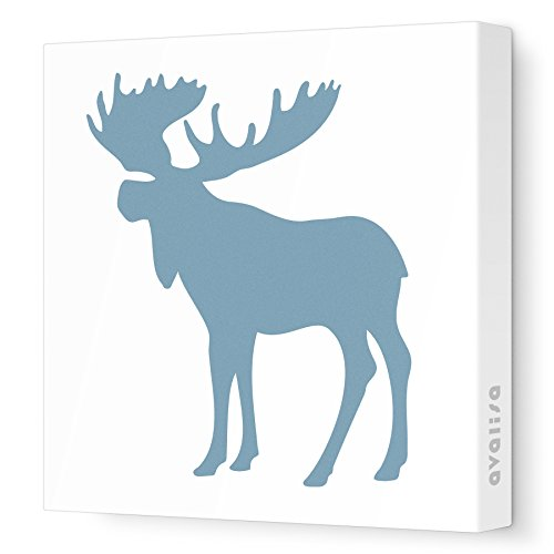 "Avalisa Stretched Canvas Moose Nursery Wall Art, Blue/Grey, 12"" x 12"""