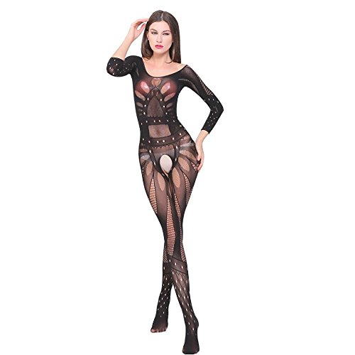 Womens Intimates Bodysuit , FTXJ Hot Sexy Mesh Crotchless Bodystocking Suspender Underwear (Black) (Sexy Cloth compare prices)