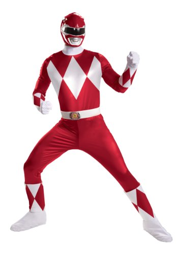 Disguise Mens Super Deluxe Red Power Ranger Theme Party Fancy Costume