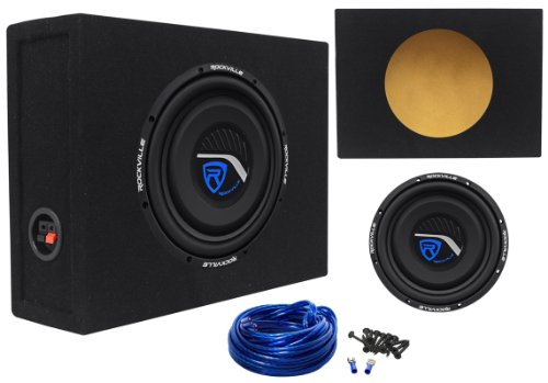 "Package: Rockville W10T3-S4 10"" 800 Watt Peak/400 Watt Rms Cea-2006 Car Subwoofer + Rockville Rsts10 Single 10"" 0.62 Cu. Ft. Sealed Sub Enclosure Box + Single Enclosure Wire Kit With 14 Gauge Speaker Wire + Screws + Spade Terminals"
