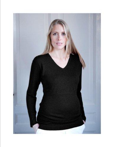 Knitted Plain Black Breastfeeding/Maternity Jumper Size Large