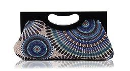 Scarleton Wood Framed Embroidered Clutch H300107 - Blue