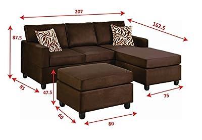 Bobkona Manhattan Reversible Microfiber 3-Piece Sectional Sofa Set