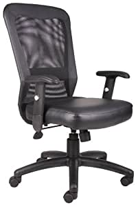 Boss B580 The Web Back And Leather Plus Seat with Web Tension Knob 1 Unit Task Chair, Black