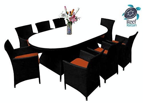 Reef Rattan Montserrat 9 Pc Dining Set - Black Rattan / Orange Cushions picture