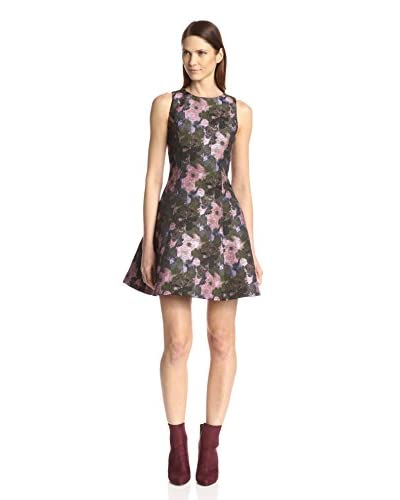 Anna Sui Women's Metallic Pop Floral Jacquard Dress