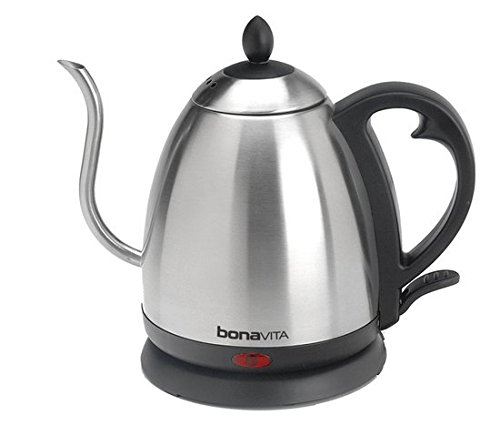 Tea Kettle-Bonavita Coffee 1.0 LITER-Goosenack Stainless Electric Tea Kettle-Electric Tea Kettle-Gooseneck Spout For Better Pour Control 360-Degrees Swivel, lifts off base for easy use and filling-Heat And Hold At Set Point For 60 Minutes-Brushed Stainless Steel Tea Kettles-1500-watt-Enjoy The Full flavor Of Your Favorite Hot Beverage-100% Guarenteed! (Bonavita Hot Water Kettle compare prices)