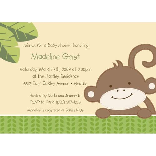 monkey love baby shower invitations