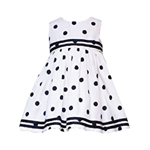 Rare Editions Baby/Infant Girls 12M-24M 2-Piece NAVY-BLUE WHITE POLKA DOT Resort Nautical Special Occasion Party Dress & Jacket Set