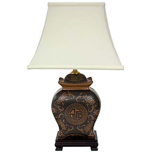 Japanese End Table Wood Accent Stand Modern Lamp Furniture: Oriental Furniture Asian Decor Accent 22-Inch Ming Ceramic