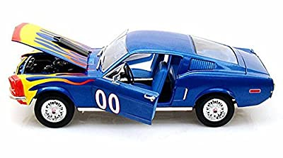 1968 The Dukes of Hazzard Cooter's Ford Mustang Hard Top, Blue w/ Flames - Tomy Johnny Lightning 21957 - 1/18 scale Diecast Model Toy Cars