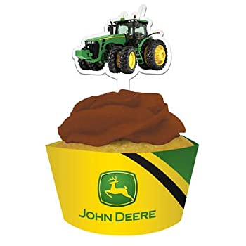 Includes (12) cupcake wrappers and picks. Plastic. This is an officially licensed John Deere product.