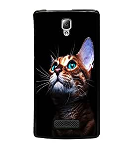 printtech Green Eyes Cute Cat Back Case Cover for Lenovo A2010