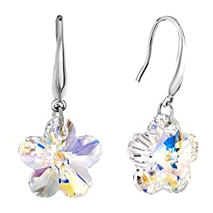 Pugster 925 Sterling Silver Colorful Flower Dangle Earring Gift Jewelry Earrings