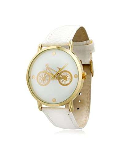 Olivia Pratt Women's 8137 In The City Gold Bicycle/White Leather Watch