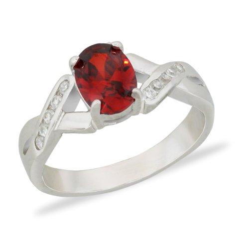 Red Oval Cz Sterling Silver Ring - Size 8