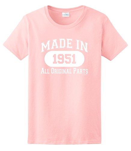 65th Birthday Gifts for Dad 65th Birthday Gift Made 1951 All Original Parts Ladies T-Shirt XL Light Pink